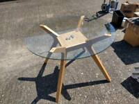 Oak, glass dining table, excellent condition