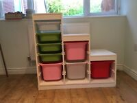Childs Bedroom Storage Unit with boxes