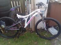 Ladies Muddy fox full suspension mountain bike brand new only been on it twice on the road