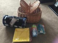 Wicker Picnic Basket + Luxury Fleece Picnic Rug + Cutlery, plates & tumblers