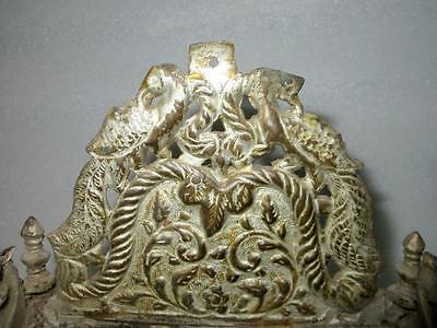 Antique Old Brass Hand Engraved Holy Worship Idol God Sitting Stand Sinhasan