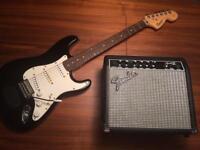 Fender Squier Strat Electric Guitar w/Amp