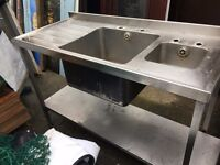 "Stainless Steel Sink On Legs with Shelf 53"" x 24"" x 36"" £100"