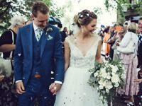 Watters Skye Wedding Dress, beautiful illusion beaded lace top, tulle skirt