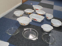 Pyrex Dishes x 9 with 3 lids