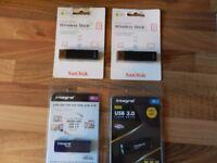 4 USB STICKS WITH 80GB OF MEMORY STORAGE