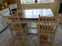 Lovely Solid Wood Dinning Table & Four Chairs