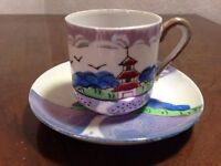 Japanese Tea cup and saucer. Fine hand painted china c1930s