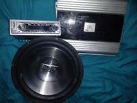 **QuickSale** subwoofer speaker + Amp + Car Stereo