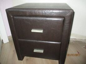 2 faux brown bedside cabinets