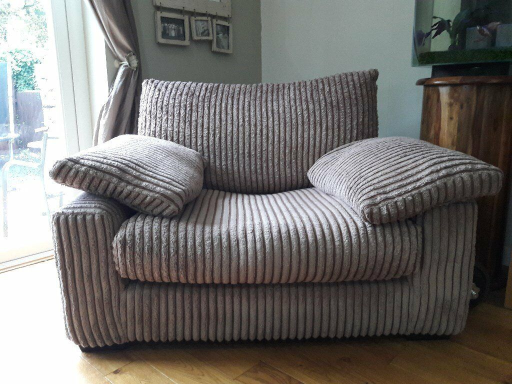 Brown chunky cord four seater sofa and chair for sale
