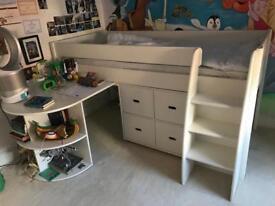 GLTC Merlin Mid-Sleeper Bed frame / desk and storage cube