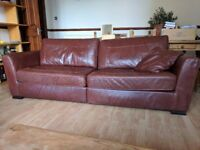 Dark burgundy leather sofa – Bargain!