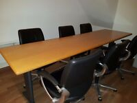 Long boardroom table with 8 chairs