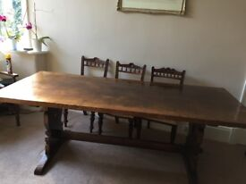 Solid Oak English Trestle Table by Titchmarsh and Goodwin