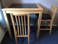 Table and Chairs - Solid Wood Bistro Set with lovely black marble inset