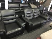 NEW/EX DISPLAY LazBoy Black Leather Electric Recliner 2 + 3 Seater + 2 x Single Recliner Chairs