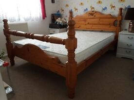 Antique, vintage, hand made, pine double bed with foam mattress