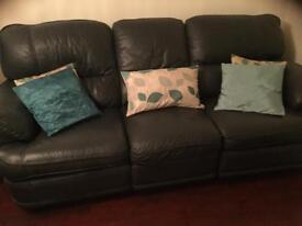 Quality petrol blue leather sofa's