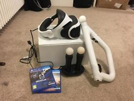 PSVR, Ps camera, Farpoint, Gun controller, 2x move controllers, charging doc and Drive club VR