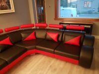 Faux leather corner suite excellent condition