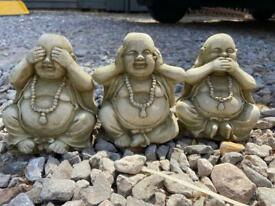 Garden ornaments Buddha see no evil, hear no evil, speak no evil