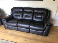 Garrick 3 Seater sofa (manual Recliners) and 2 Electric Reclining chairs (Dark Brown)