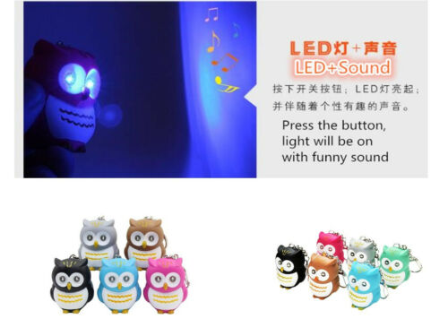 Cartoon Owl Keyring With LED Lights And Hooting Sound Key Chain Car Bag Pendant