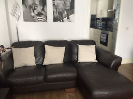 100% Brown Leather Sofas Good Condition £75 For Both Or Will Split, Must Go Today!!!