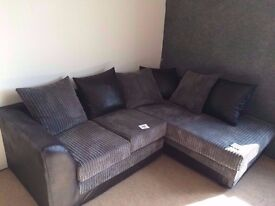 Excellent condition, Corner suite, black and grey, 2 piece set, scatter back cushions.