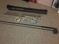 2 fly rods+ 2 reels and also 2 spare spools with line