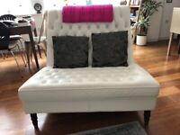 White leather love seat