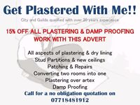 15% off all plastering and damp proofing work