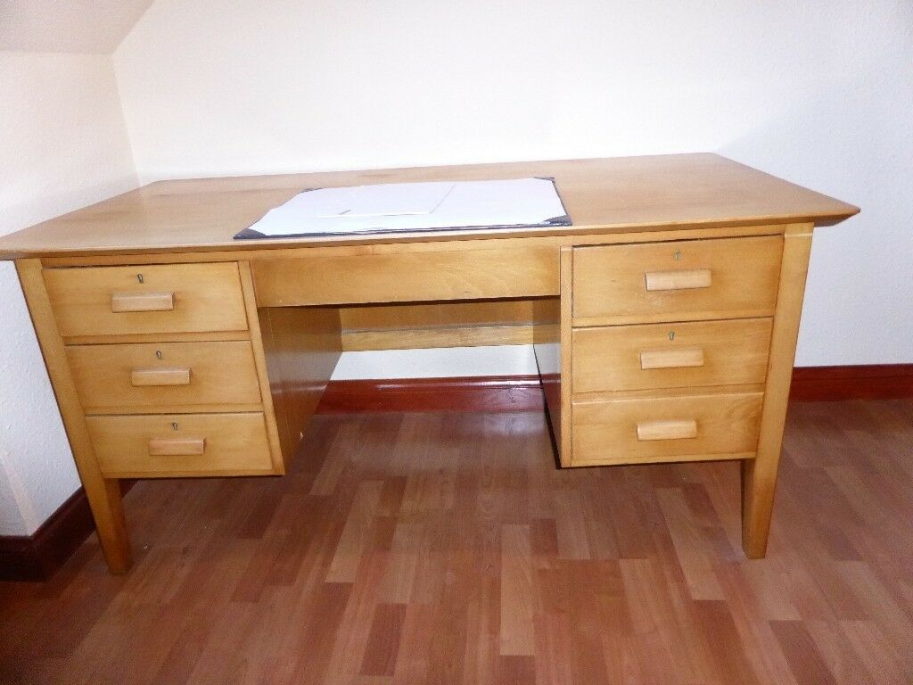 Solid Wooden Desk In Light Wood Sy Item