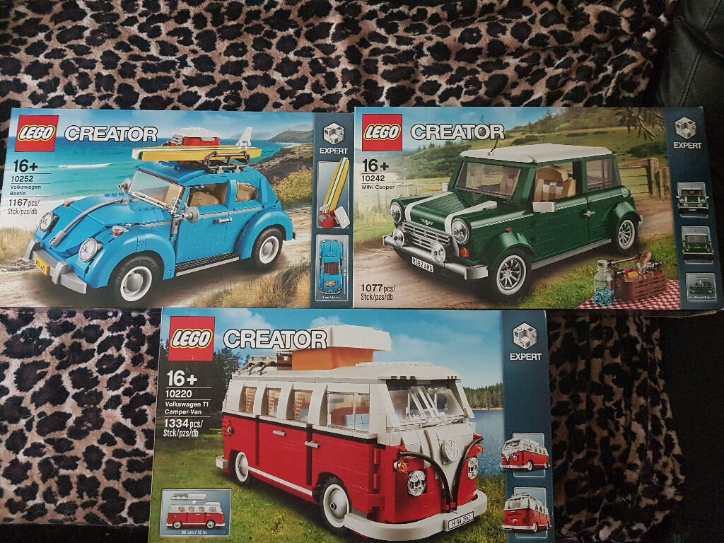BRAND NEW Lego Creator Cars BUNDLE! VW Camper Van, Mini Cooper and VW Beetlein Brighton, East SussexGumtree - BRAND NEW AND SEALED LEGO CREATOR CARS BUNDLE FOR SALE! The VW Camper Van and the VW Beetle are BRAND NEW, the Mini Cooper has just been displayed and comes complete with box, instructions and plastic bags! GRAB YOURSELF A BARGAIN! POSTAGE WELCOME!!...