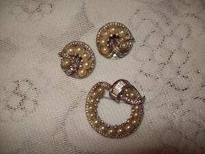 VINTAGE KEYES BROACH & CLIP EARRINGS