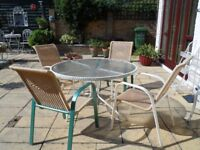 Glass garden table and 4 chairs