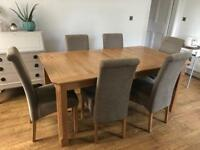 Dining room table and 6 chairs (extents to 8 seater)