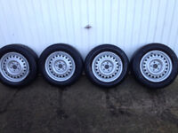 Ford Transit Connect wheels and tyres, x4 . 195 60 15 tyres, all legal, in good condition.
