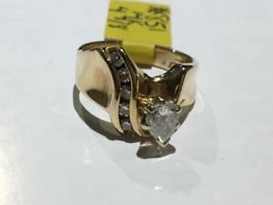 #851 14K LADIES CUSTOM ENGAGEMENT RING .45CT PEAR SHAPED DIAMOND. SIZE 4 7/8. **JUST BACK FROM APPRAISAL AT $3850**