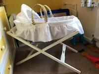 Moses basket, stand and 3 sheets