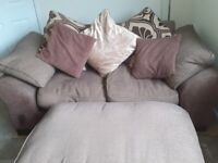 Brown 2 seater sofa and 2 foot stool FREE