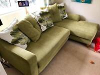 DFS L-shaped Green Sofa