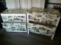 2 stunning and bespoke Co-ordinating Three Drawer Chests of Drawers