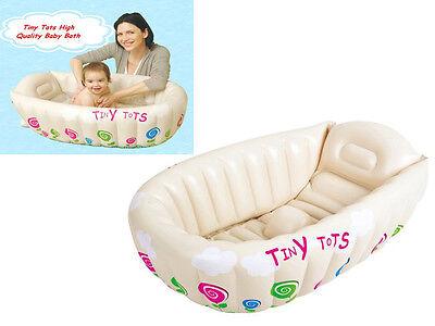 NEW TINY TOTS INFLATABLE BABY BATH TUB HEAT SENSOR TRAVEL INFANT WASHING TUB