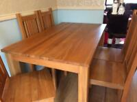 Boston Oak Dining Table and 6 side chairs