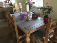 Large Pine Dinning Table And Chairs 5ftx3ft Buyer Collects Price 100 Pounds Very Good Condition