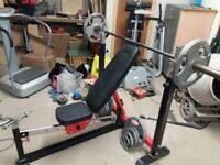 Weight Workstation Two benches Bars Weights Leg weight lifters Arm weight extender Numerous weights