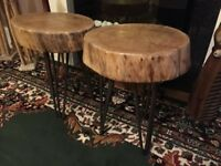 Beautiful Solid Oak Stool's With Vintage Hair Pin Legs x 2