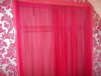 Fuchsia Pink See-thru curtains nets (pair) - Long